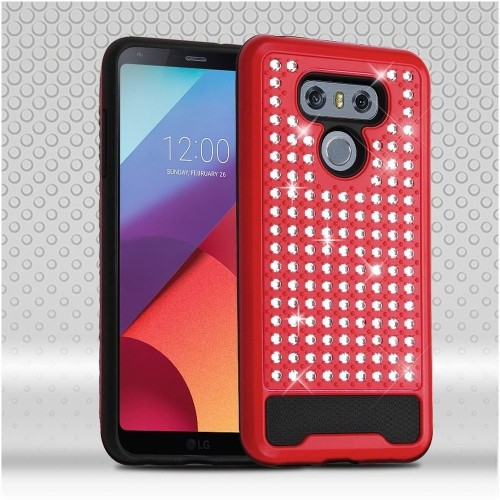 Insten Hard Dual Layer Bling Silicone Case For LG G6, Red/Black