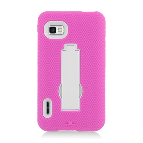 Insten Symbiosis Rubber Hard Cover Case w/stand For LG Optimus F3 LS720, Hot Pink/White