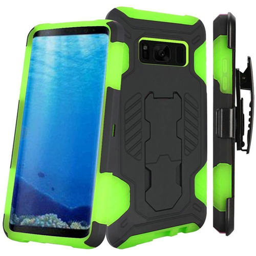 Insten SuperCoil Hard Plastic Case w/stand/Holster For Samsung Galaxy S8, Black/Neon Green