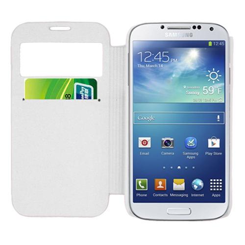 Insten Flip Leather Fabric Case w/card holder For Samsung Galaxy S4, White