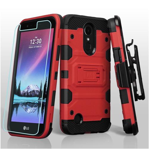 Insten Tank Hard 3 TPU Case w/stand/Holster For LG Harmony/K10 (2017)/K20 Plus/K20 V, Red/Black