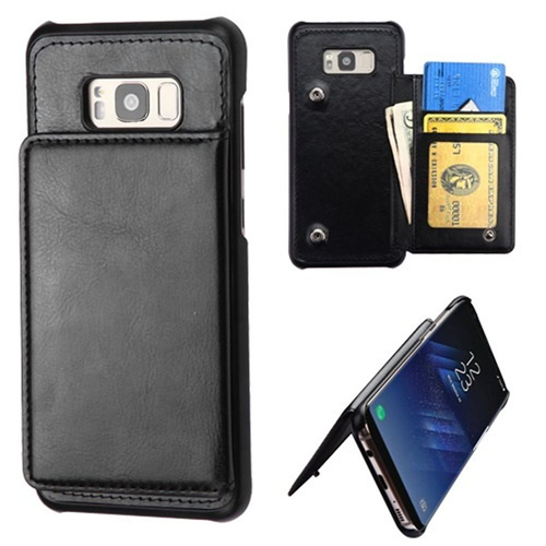 Insten Leather Fabric Cover Case w/card holder/Photo Display For Samsung Galaxy S8, Black