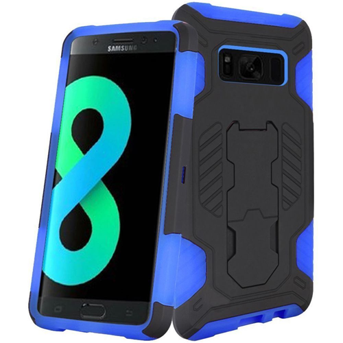 Insten SuperCoil Hard Hybrid Plastic Cover Case w/stand For Samsung Galaxy S8 Plus, Black/Blue