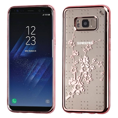 Insten Glitter Spring Flowers Rubber Clear Cover Case For Samsung Galaxy S8 Plus, Rose Gold