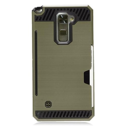 Insten Chrome Brushed Hard Case w/card slot For LG Stylo 2/Stylus 2, Dark Green/Black