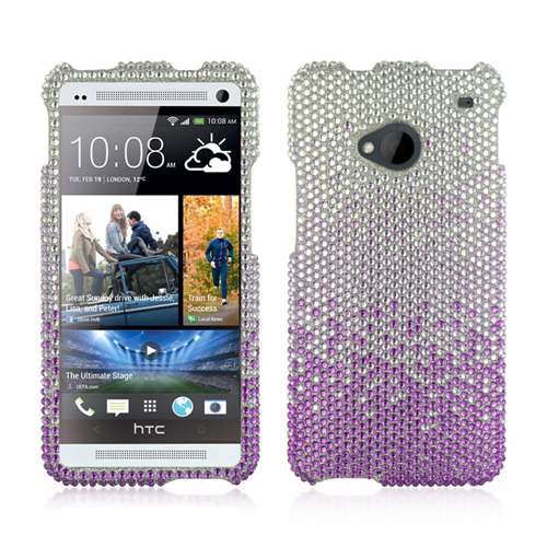 Insten Fitted Hard Shell Case for HTC One M7 - Silver;Purple