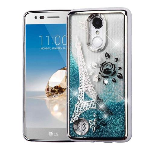 Insten Quicksand Hard Glitter Chrome Case For LG Fortune/K4 (2017)/K8 (2017)/Phoenix 3, Blue/Silver