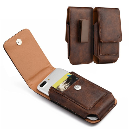 Insten Book-Style Leather Fabric Case w/card slot/Belt Clip For Samsung Galaxy Note, Brown