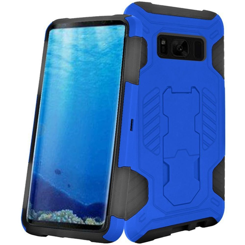 Insten SuperCoil Hard Dual Layer Plastic Cover Case w/stand For Samsung Galaxy S8, Blue/Black