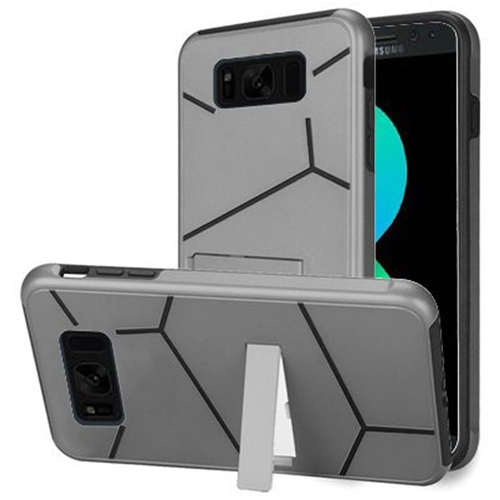 Insten Hard Hybrid Plastic TPU Cover Case w/stand For Samsung Galaxy S8 Plus, Silver/Black