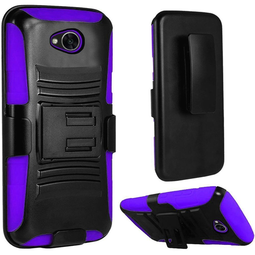 Insten Hybrid Silicone Case w/stand/Holster For LG Fiesta LTE/K10 Power/X Charge, Black/Purple