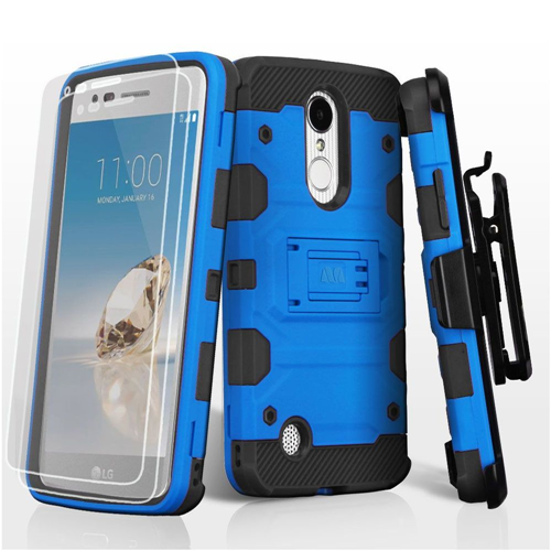 Insten Tank Hard Case w/stand For LG Aristo/Fortune/K4 (2017)/K8 (2017)/LV3/Phoenix 3, Blue/Black