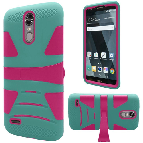Insten Hard Dual Layer TPU Case w/stand For LG Stylo 3, Teal/Hot Pink
