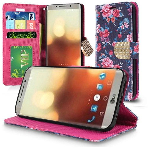 Insten Tropical Flowers Leather Fabric Case Lanyard w/stand/card holder For LG G6, Multi-Color