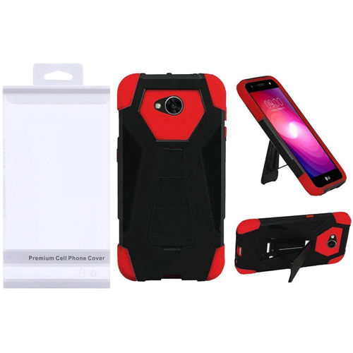 Insten T-Stand Hybrid Plastic Silicone Case w/stand For LG Fiesta LTE/K10 Power/X Charge, Black/Red