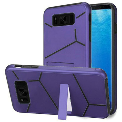 Insten Hard Hybrid Plastic TPU Cover Case w/stand For Samsung Galaxy S8, Purple/Black