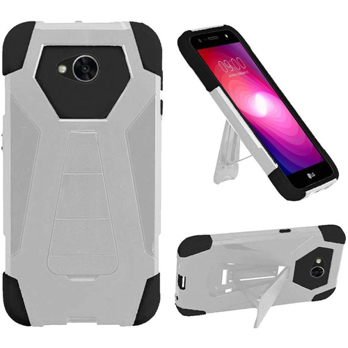 Insten T-Stand Hybrid Silicone Case w/stand For LG Fiesta LTE/K10 Power/X Charge, White/Black