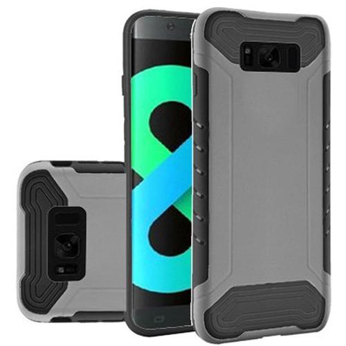 Insten Slim Armor Hard Dual Layer Plastic TPU Case For Samsung Galaxy S8 Plus, Silver/Black