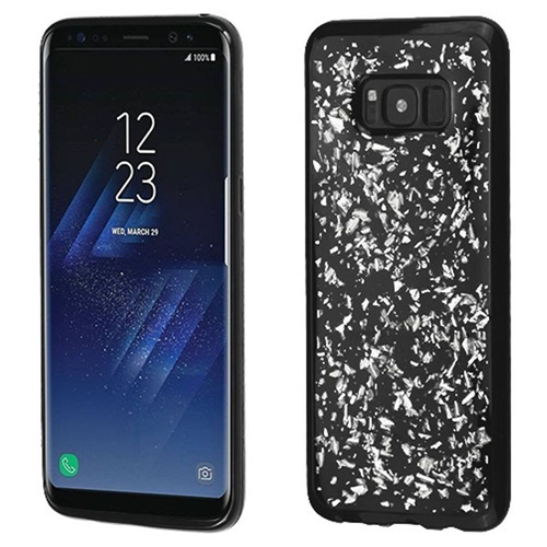 Insten Flakes Rubber Cover Case For Samsung Galaxy S8, Silver/Black