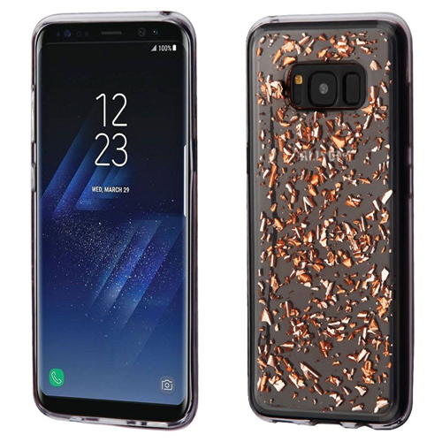 Insten Flakes Rubber Case For Samsung Galaxy S8, Rose Gold/Clear