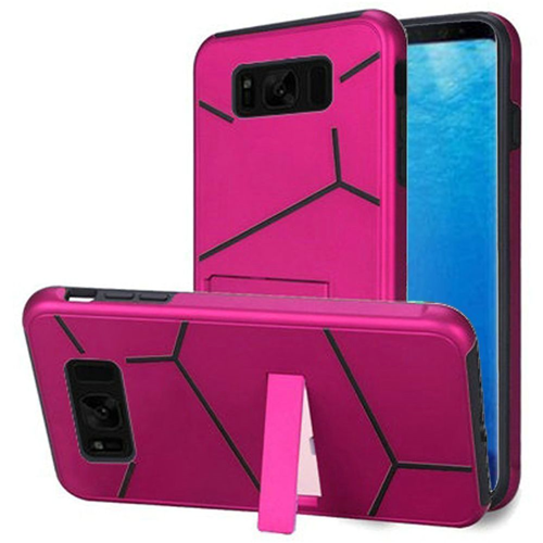 Insten Hard Hybrid Plastic TPU Case w/stand For Samsung Galaxy S8, Hot Pink/Black