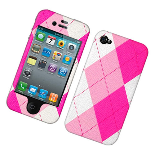 Insten Argyle Hard Plastic Cover Case For Apple iPhone 4/4S, Pink/White