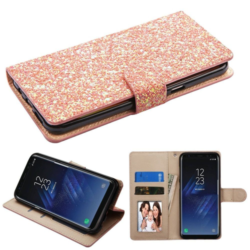 Insten Hexagon Flakes Book-Style Glitter Case w/stand For Samsung Galaxy S8 Plus, Rose Gold