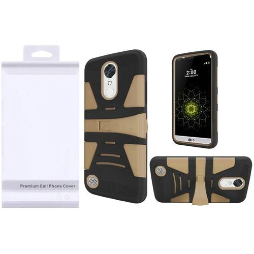 Insten Hard Plastic Silicone Case w/stand For LG Grace 4G/Harmony/K20 Plus/K20 V, Gold/Black