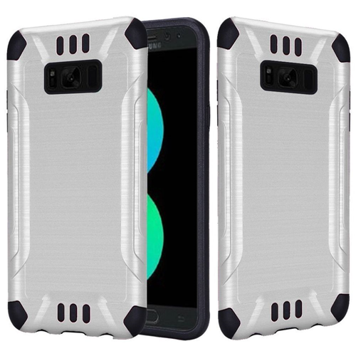 Insten Hard Hybrid Brushed TPU Cover Case For Samsung Galaxy S8 Plus, White/Black