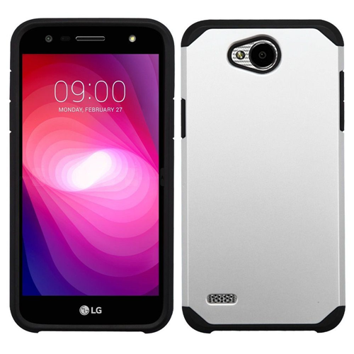 Insten Hard Dual Layer TPU Cover Case For LG X Power 2, Silver/Black