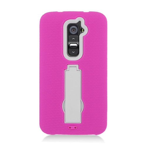 Insten Symbiosis Silicone Rubber Hard Case For LG G2 D801 T-Mobile/G2 LS980 Sprint, Hot Pink/White