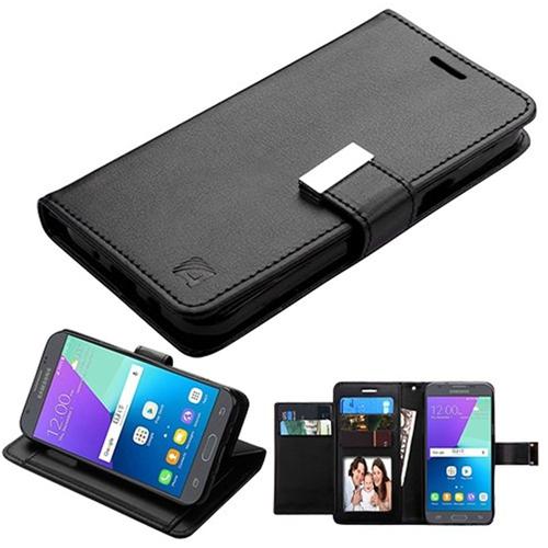 Insten Flip Leather Fabric Case For Samsung Galaxy Amp Prime 2/Express Prime 2/J3 (2017), Black