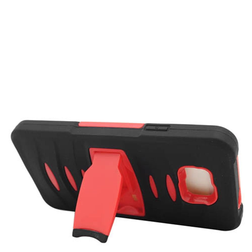 Insten Soft Hybrid Rubber Hard Cover Case w/stand For Samsung Galaxy Alpha, Black/Red