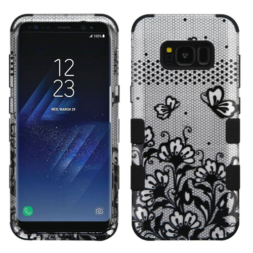 Insten Lace Flower Hard Rubber Coated Silicone Case For Samsung Galaxy S8 Plus, Silver/Black