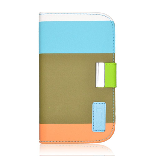 Insten Multicolor Folio Leather Fabric Case w/card holder For Samsung Galaxy S4, Green/Blue