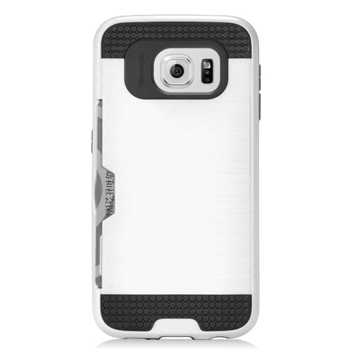 Insten Chrome Brushed Hard Case w/card holder For Samsung Galaxy S7, White/Black