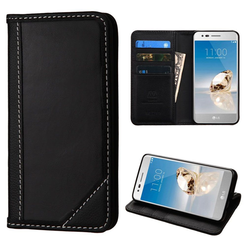 Insten Genuine leather Case w/stand For LG Aristo/Fortune/K4 (2017)/K8 (2017)/LV3/Phoenix 3, Black