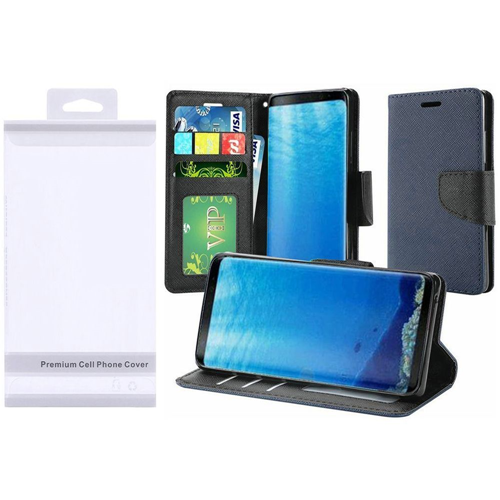 Insten Flip Leather Fabric Case Lanyard w/stand/card holder For Samsung Galaxy S8, Blue/Black