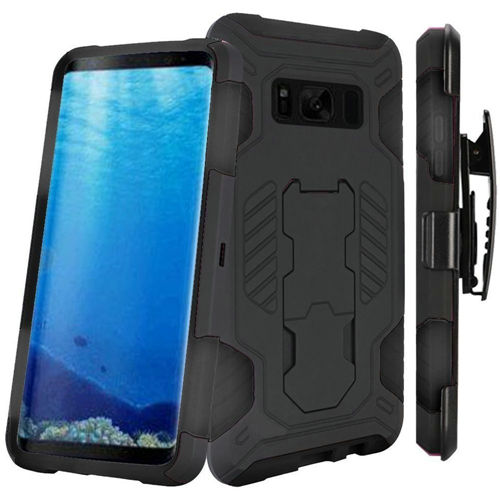 Insten SuperCoil Hard Dual Layer Plastic Cover Case w/stand/Holster For Samsung Galaxy S8, Black