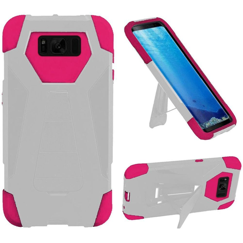 Insten T-Stand Hard Hybrid Rubberized Silicone Case w/stand For Samsung Galaxy S8, White/Hot Pink