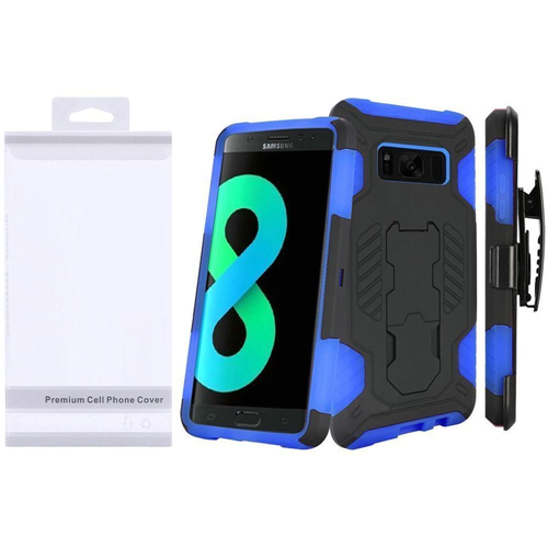 Insten SuperCoil Hard Hybrid Plastic Case w/stand/Holster For Samsung Galaxy S8 Plus, Black/Blue
