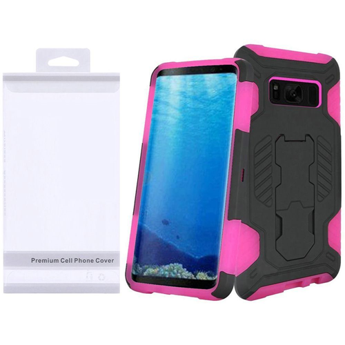 Insten SuperCoil Hard Hybrid Plastic Cover Case w/stand For Samsung Galaxy S8, Black/Hot Pink