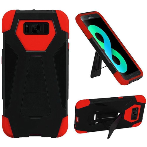 Insten T-Stand Hard Dual Layer Silicone Case w/stand For Samsung Galaxy S8 Plus, Black/Red
