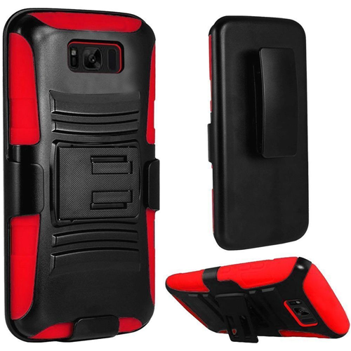 Insten Hard Dual Layer Rubber Silicone Case w/stand/Holster For Samsung Galaxy S8 Plus, Black/Red
