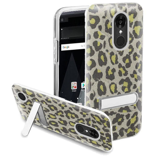 Insten Leopard Hard Glitter TPU Case w/stand For LG Aristo/K8 (2017), Neon Green