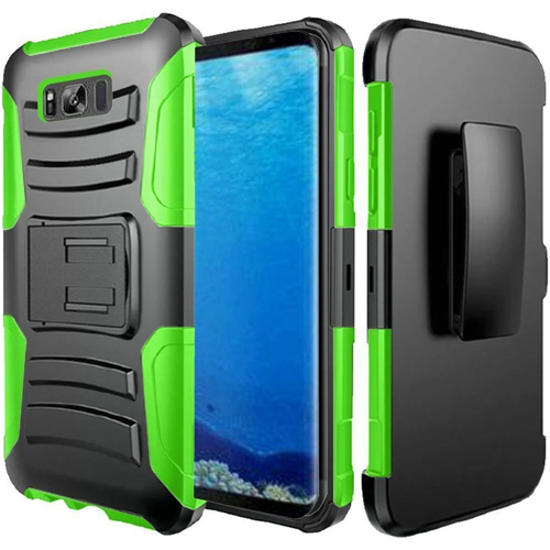 Insten Hard Dual Layer Silicone Cover Case w/stand/Holster For Samsung Galaxy S8, Black/Neon Green