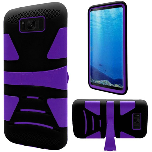 Insten Hard Dual Layer Plastic TPU Case w/stand For Samsung Galaxy S8, Purple/Black