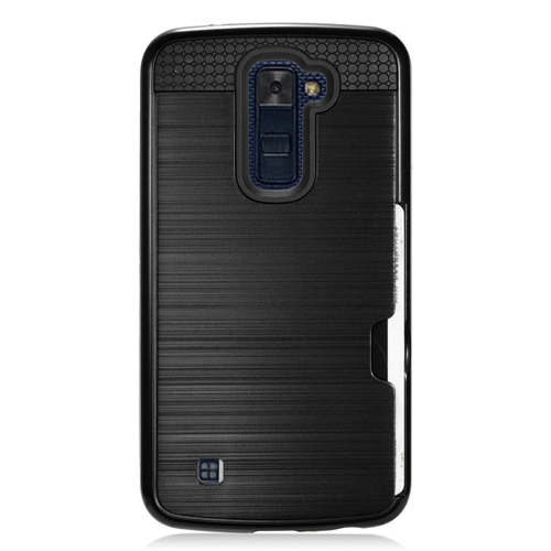 Insten Chrome Brushed Hard Case w/card slot For LG K10 (2016), Black