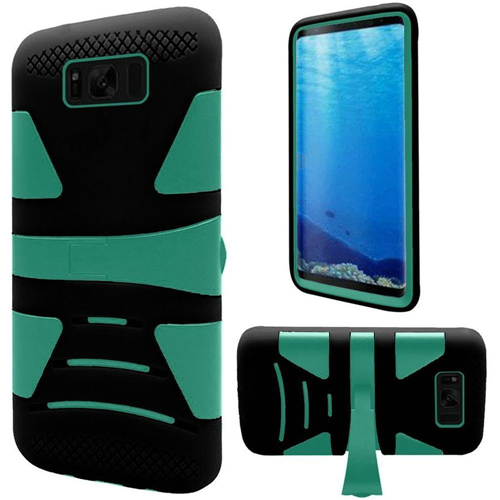 Insten Hard Hybrid Plastic TPU Case w/stand For Samsung Galaxy S8, Teal/Black