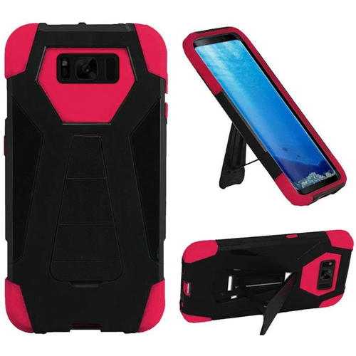Insten T-Stand Hard Dual Layer Rubber Silicone Case w/stand For Samsung Galaxy S8, Black/Hot Pink